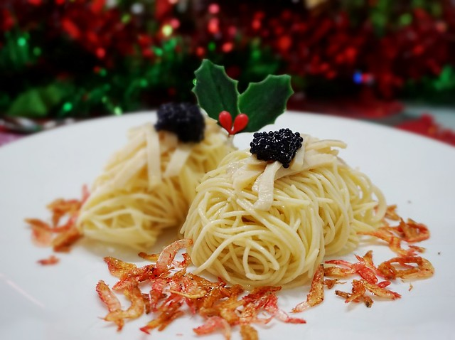 Cold Angel Hair Pasta in Truffle Oil with Abalone and Caviar