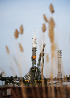 The Soyuz TMA-20 spacecraft is seen shortly after arrival to the launch pad Monday, Dec. 13, 2010 at the Baikonur Cosmodrome in Kazakhstan. Original from NASA. Digitally enhanced by rawpixel.