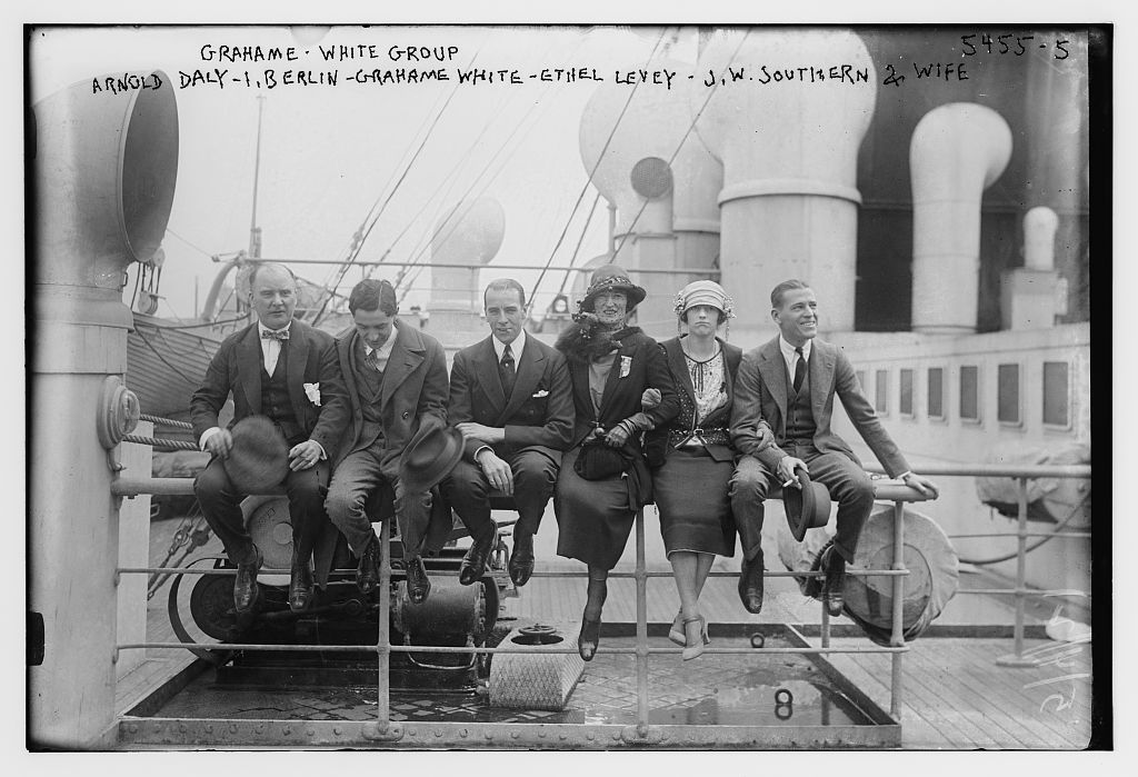 Grahame-White group: Arnold Daly, I. Berlin, Grahame White, Ethel Levey, J.W. Southern & wife (LOC)
