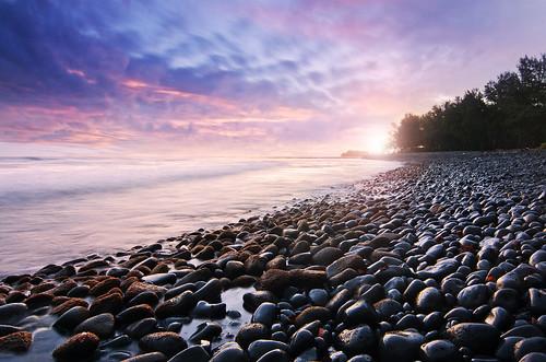 paradise mauritius sunset coast longexposure sky clouds trees rocks sea seclusion beach holiday tide sun sunshine shallow