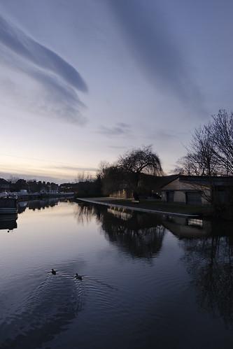 cambridge dusk sky winter cambridgeshire uk river cam rivercam landscape