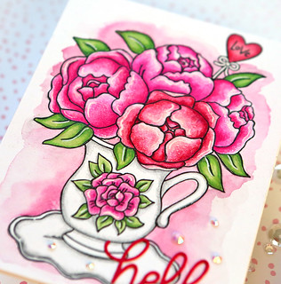 Valentine's Day Watercolor Card 2 close up | by suzy.plantamura