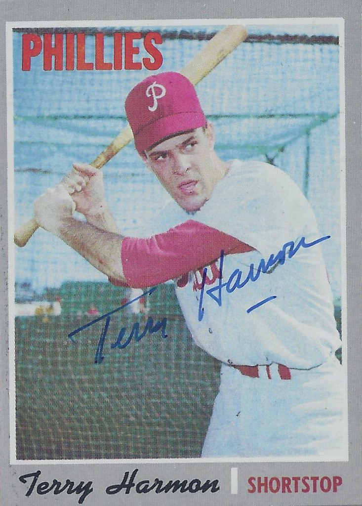 1970 Topps Terry Harmon 486 Shortstop Autographed B