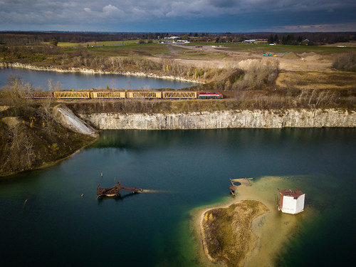 gexr goderichexeterrailway gexrfergusspur dolimequarry guelph ontario quarry drone djimavicpro photography autumn stormlight stormlighting train railroad railfan railway railroading trains locomotive emd