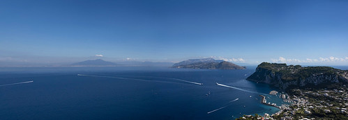 view panorama bluesky blue cloud mediterranean sea harbour capri anacapri vesuvio ship italy villamichele axelmunthe