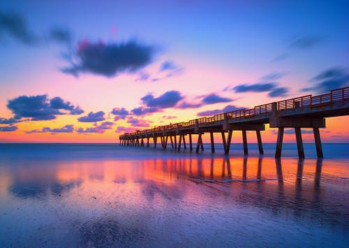 florida jacksonvillebeach sunrise pier jaxbeach reflection longexposure