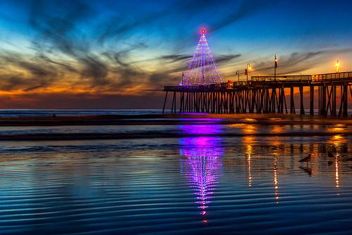 christmastree pismobeach sunsetreflections christmas christmaslights reflections pacificocean ocean lowtide sunset clouds christmas2018 merrychristmas pier pismopier pismobeachpier beach seascape getty gettyimages mimiditchie mimiditchiephotography