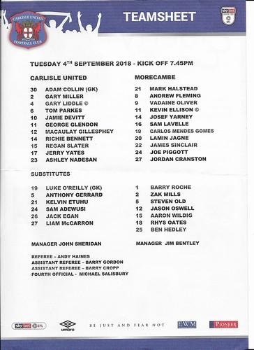Carlisle United V Morecambe 4-9-18 | by cumbriangroundhopper