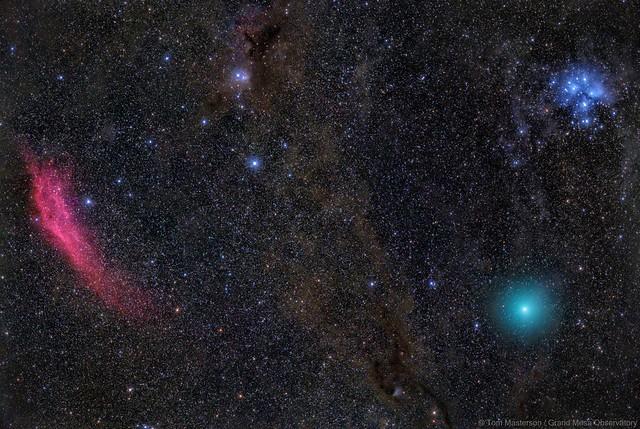 The Fiery Red California Nebula, Deep Blue Pleiades and a Green Comet 46P Wirtanen APOD 12/20/2018