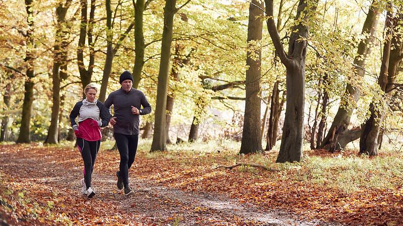 一对成熟的情侣一起在秋天的树林里奔跑