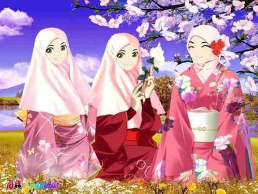 740+ Gambar Kartun Muslimah Dengan Pemandangan Gratis Terbaru