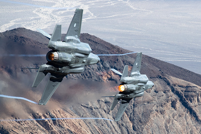 323 TES F-35A's F-001 & F-002 low in California.