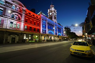 Red, white and blue Flinders Street Station, Melbourne | by Joe Lewit