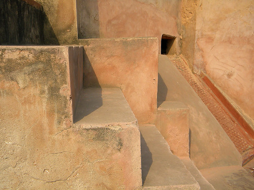 Stairs form a geometric abstract at the Baby Taj, aka Itimad-ud-Daulah, a Mughal structure built completely from marble containing the tomb of the Persian nobleman