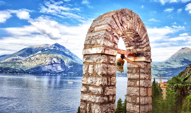 Bell tower in Varenna, Italy, on Lake Como
