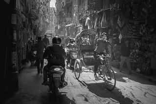 Rikshaw mister? Thamel traffic, Kathmandu