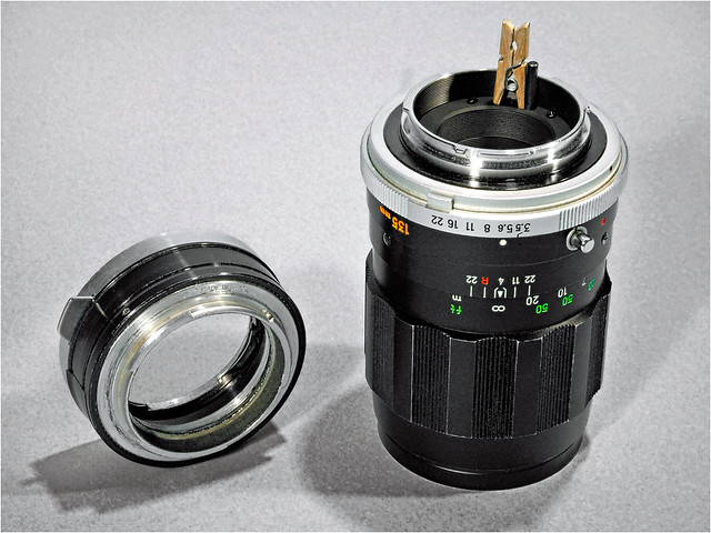 135mm Tele-Rokkor aperture pin kludge