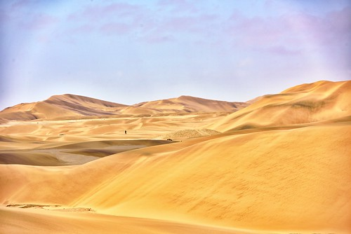 swakopmund sand sanddunes sanddune africa desert landscape person hiking walking