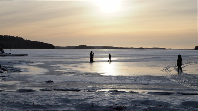 Sunny winter Day, in the frozen Bay
