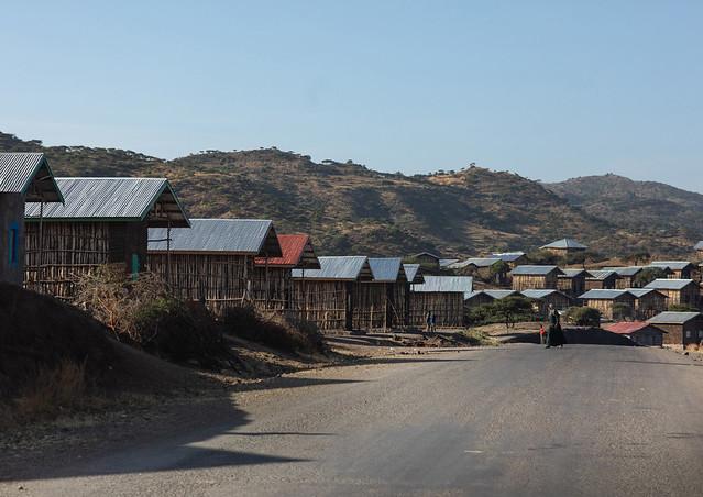 New houses built along the road, Amhara Region, Lalibela, Ethiopia
