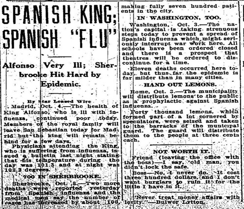 """Spanish King; Spanish 'Flu' – Alfonso Very Ill; Sherbrooke Hit Hard by Epidemic"""