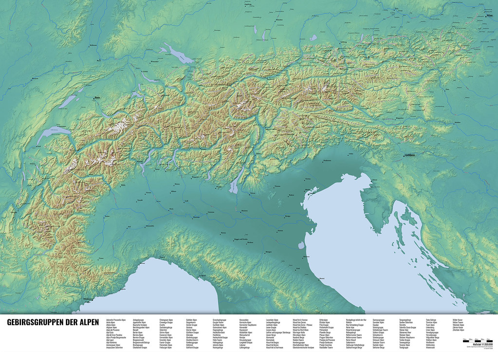 Alpenkarte - Map of the Alps | Map of the alps made with QGI ...