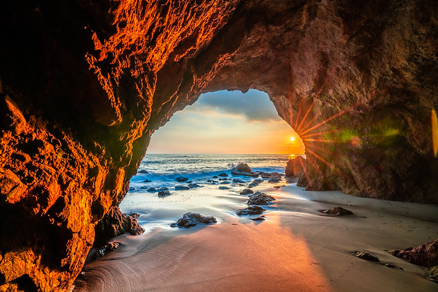 Malibu Beach Sea Cave Sunset Red & Orange Clouds Fine Art El Matador State Beach California Landscape Seascape Photography! Sony A7R III & Sony FE 16-35mm f/2.8 GM G Master Lens! High Res 4k 8K Photography! Elliot McGucken Pacific Ocean! Sony A7RIII A7R3!
