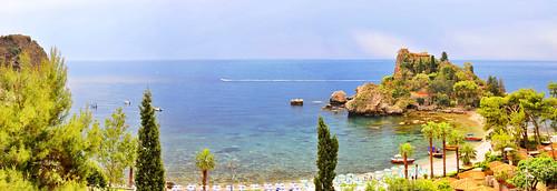 trees sea italy panorama seascape water island rocks europe south eu panoramic sicily isolabella taormina