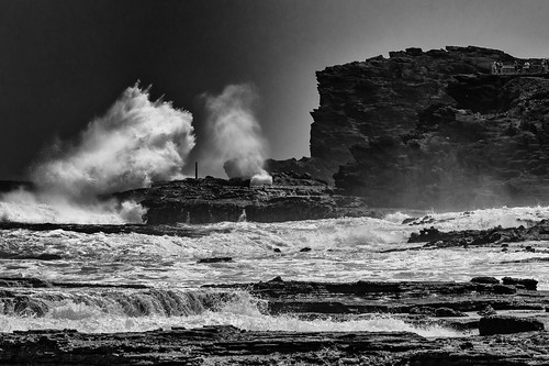 blowhole halona bw blackandwhite hawaii oahu ocean rocks waves