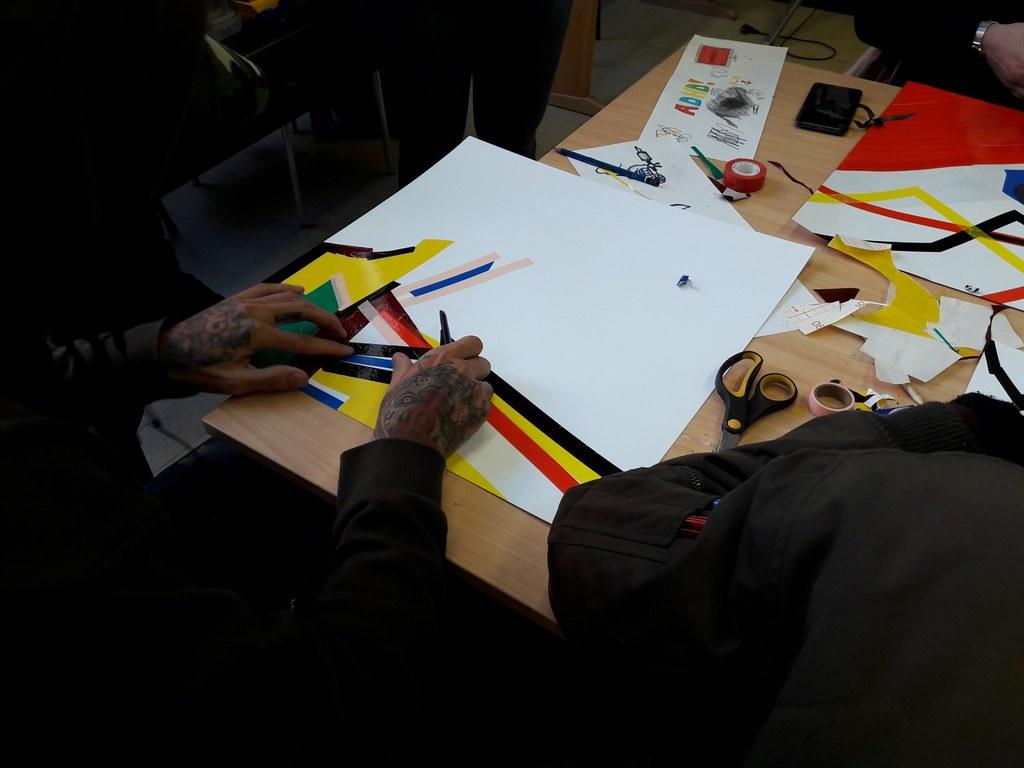 sessie 2 ateliersDKO schilderen met tape (10)