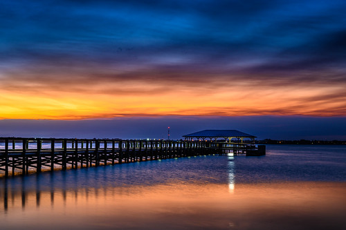 indianriver melbournebeach color complementary pier river sunset water chuckpalmer