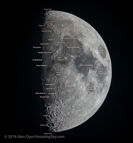 The Eight Day Old Moon with Labels | by Amazing Sky Photography