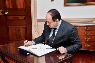 Qatari Deputy Prime Minister and Minister of State for Defense Affairs Khalid bin Muhammad al-Attiyah Signs Secretary Pompeo's Guestbook