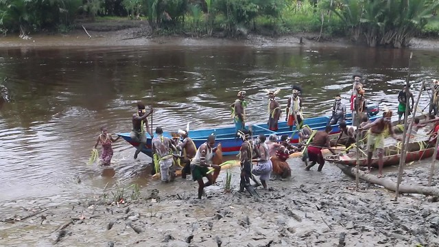 Asmat ritual - the women defend their village by beating the men