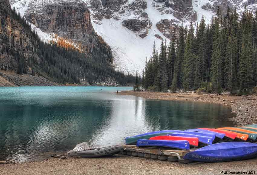 The Canoe Docks Of Moraine Lake Lodge On Moraine Lake In B