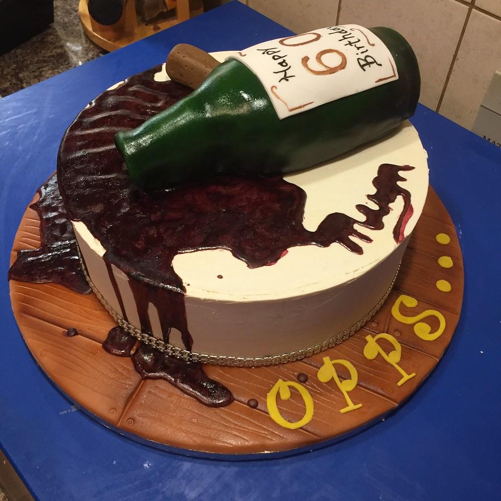 Astonishing Opps Spilled Red Wine Bottle Cake Happy 60Th Birthday Flickr Funny Birthday Cards Online Unhofree Goldxyz