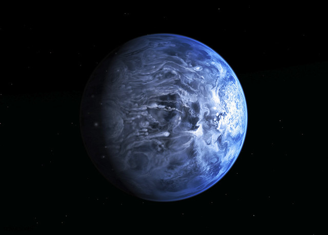 This illustration shows HD 189733b, a huge gas giant true blue planet that orbits very close to its host star HD 189733 found by NASA Hubble. Original from NASA. Digitally enhanced by rawpixel.