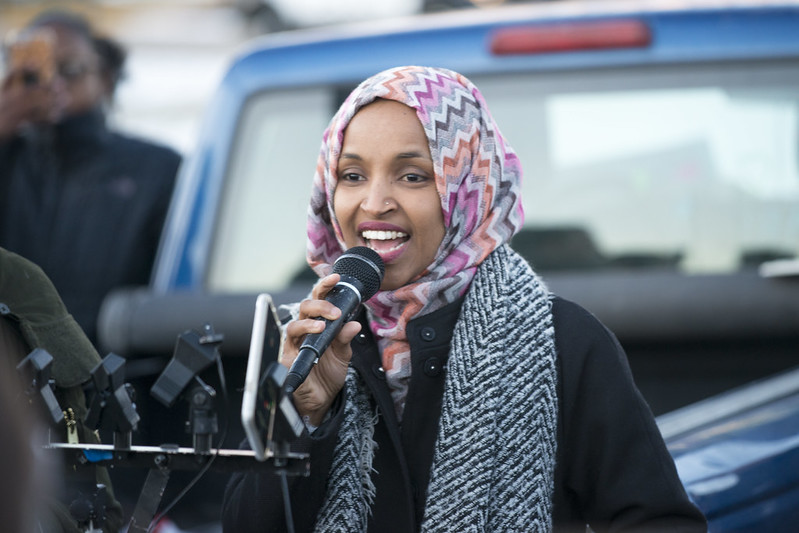 Ilhan Omar speaking at worker protest against Amazon