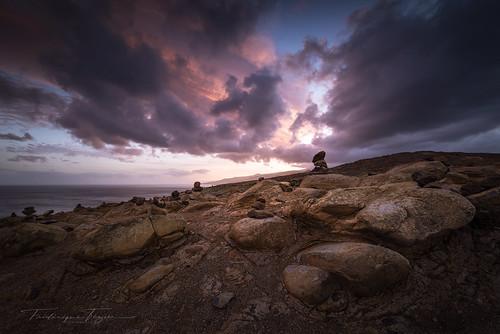 madeira sunset saolourenço clouds rocks cairn landscape