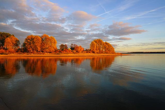 Autumnal symmetry, Mozhaysk Sea, Russia