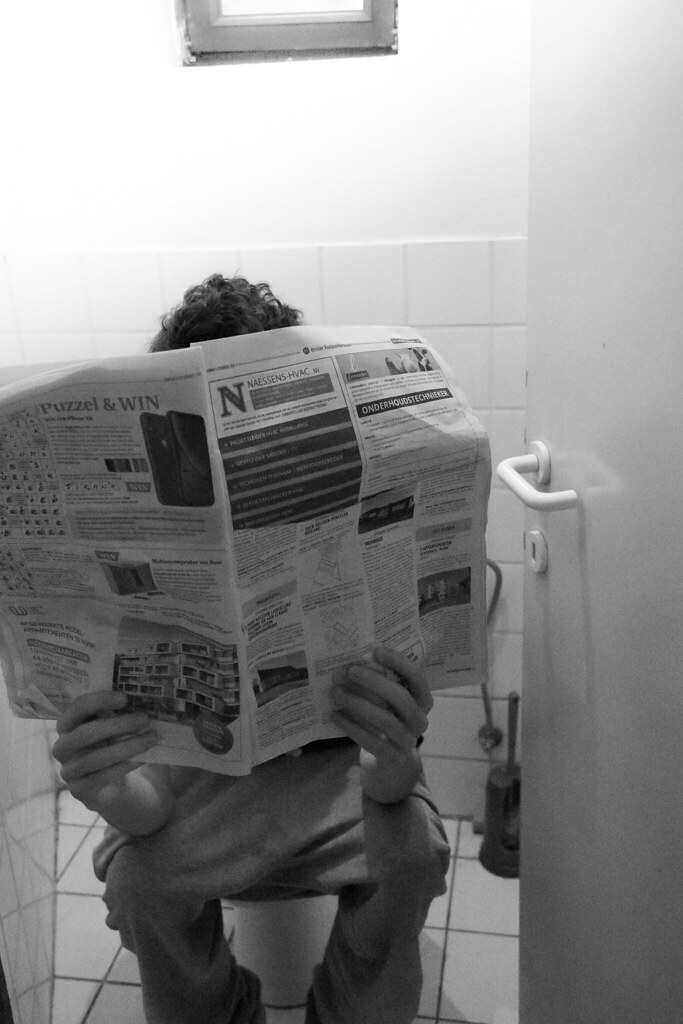 read the newspaper in the toilet