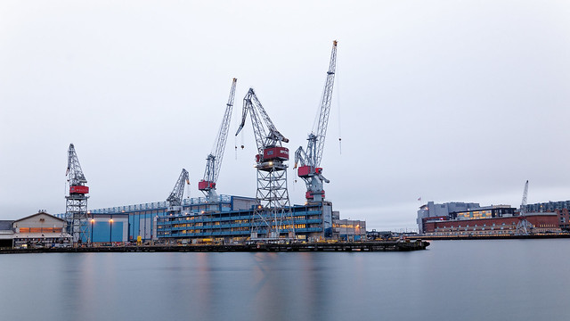 Idle cranes at the harbour