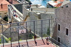 Basket ball field in the old city of Dubrovnik, Croatia