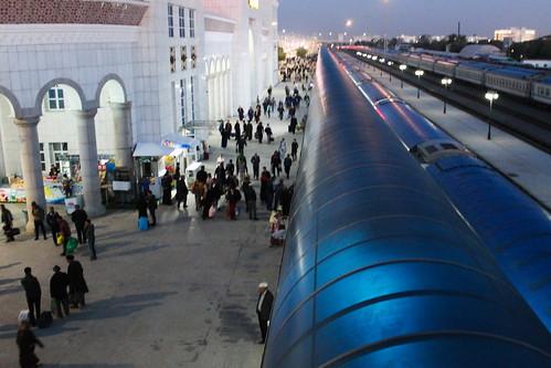 Night train Daşoguz-Aşgabat at Aşgabat train station | by Timon91