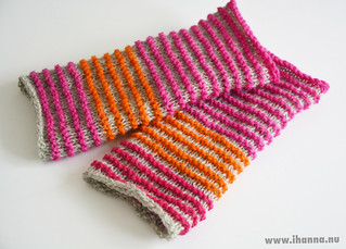 Knitted wrist-warmers in pink, gray and orange   by iHanna