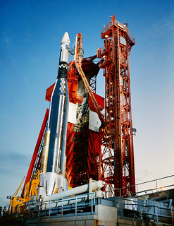 An Agena Target Docking Vehicle atop its Atlas launch vehicle is ready for launch at Launch Complex 14 at Cape Kennedy, Florida. Original from NASA . Digitally enhanced by rawpixel.