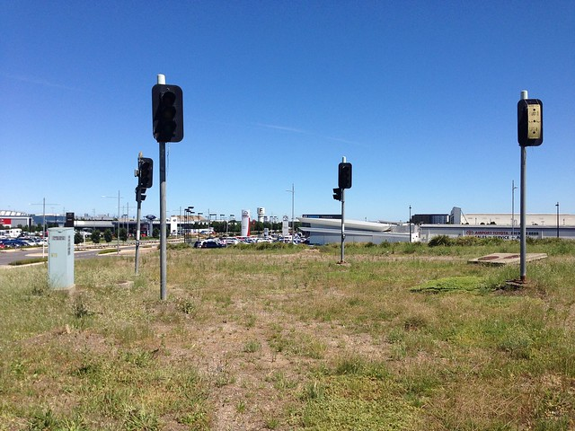 Abandoned set of traffic signals at Essendon Airport