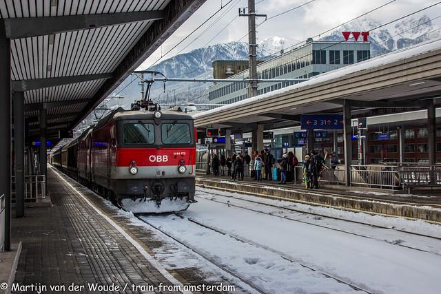 Alpen Express 2019 - ÖBB 1144 122 met goederentrein in Innsbruck Hbf 12 januari 2019