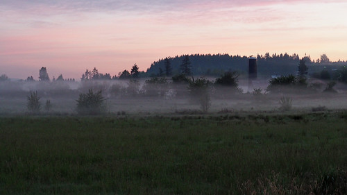 sunrise morning mist fog pink purple dawn barn silo