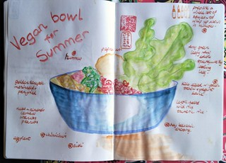 Vegan bowl for summer ideas. As soon as it gets hot, food becomes more like a drink. Prepare sauces and dips in advance and I can put together a vegan bowl in minutes. First use of #TomoeRiver paper notebook by #Taroko. 68 gsm instead of 52. Liking it. Li